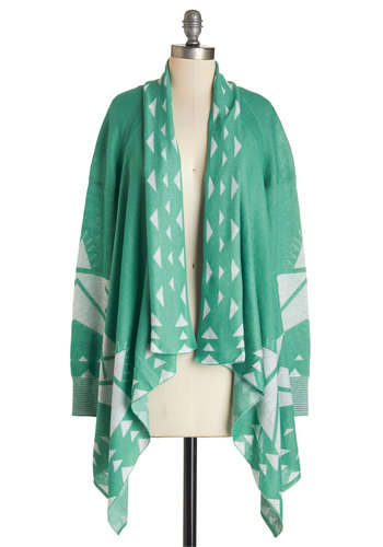 Won't Know 'Til You Tri Cardigan - Green, Long Sleeve, Long, Knit, Mint, White, Print, Casual, Folk Art, Long Sleeve, Fall