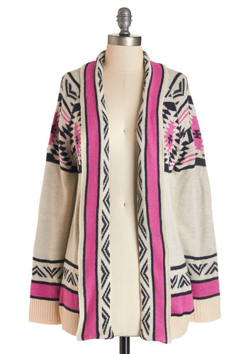 Red Rock Canyon Cardigan in Fuchsia - Multi, Long Sleeve, Mid-length, Knit, Cream, Pink, Black, Print, Casual, Folk Art, Long Sleeve, Fall, Top Rated