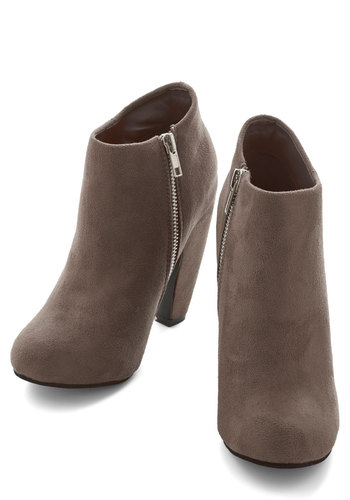 Taupe of Your Game Bootie - High, Faux Leather, Tan, Solid, Exposed zipper, Urban, Minimal, Good