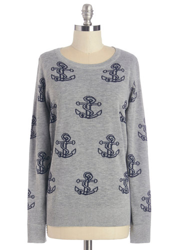 Dancing on the Dock Sweater - Mid-length, Knit, Grey, Blue, Print, Nautical, Long Sleeve, Crew, Fall
