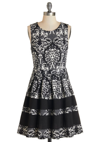 Time Allowing Dress - Black, Print, Pleats, Daytime Party, A-line, Sleeveless, Knit, Better, Scoop, White, Mid-length