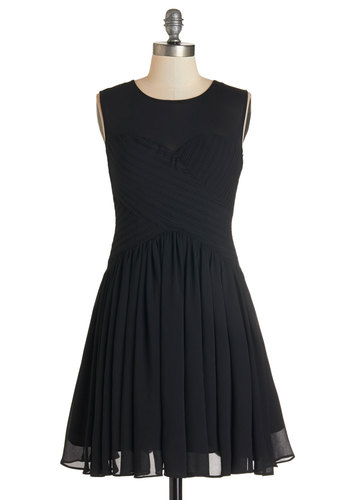 Flair Game Dress in Black - Black, Solid, Pleats, Party, LBD, Sleeveless, Woven, Better, Scoop, Short, Girls Night Out, Fit & Flare