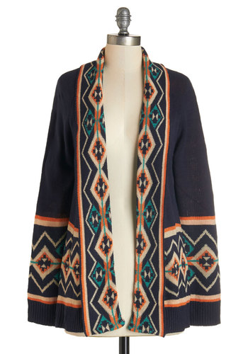 Somebody That I Houston Know Cardigan - Knit, Blue, Multi, Casual, Folk Art, Long Sleeve, Fall, Print