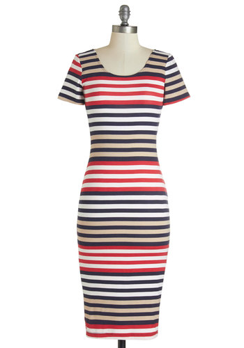 Celsius to the Dress - Stripes, Casual, Maxi, Short Sleeves, Fall, Knit, Good, Scoop, Long, Jersey, Multi, Red, Tan / Cream, Black, White
