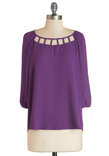 Live Vibrantly Top - Mid-length, Woven, Purple, Solid, Cutout, Work, 3/4 Sleeve, Exclusives