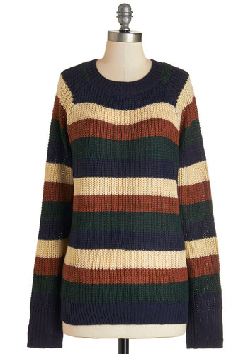 Happy Trails Sweater - Mid-length, Knit, Multi, Stripes, Casual, Long Sleeve, Fall, Crew, Press Placement