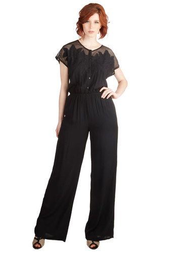 Florida by Night Jumpsuit - Fall, Good, Full length, Black, Short Sleeve, Jumpsuit, Long, Knit, Woven, Black, Solid, Embroidery, Casual, Boho, 70s, Short Sleeves, Buttons