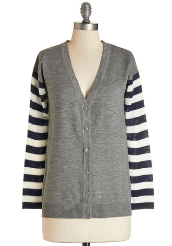 Literary Lineup Cardigan - Mid-length, Knit, Grey, Blue, White, Stripes, Buttons, Casual, Scholastic/Collegiate, Long Sleeve, Fall