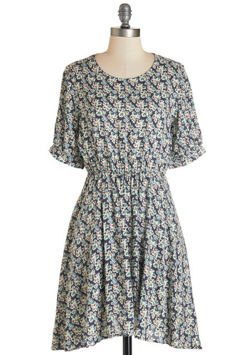 Morning Moments Dress - Floral, Casual, A-line, Short Sleeves, Fall, Woven, Good, Scoop, Mid-length, Multi