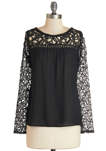 Meet and Mingle Top - Mid-length, Knit, Woven, Lace, Black, Solid, Lace, Pleats, Party, Long Sleeve