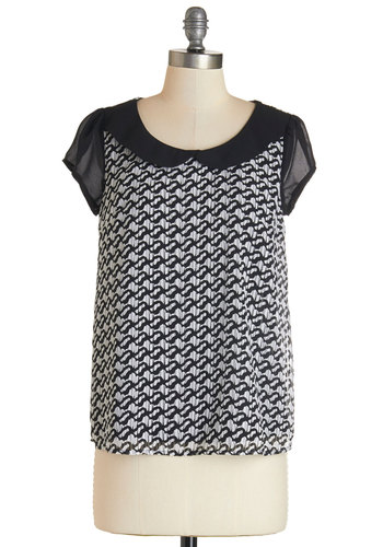 Poetry Panelist Top - Mid-length, Woven, Black, White, Print, Peter Pan Collar, Work, Cap Sleeves