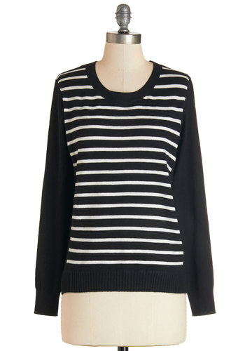 Must-Have Style Sweater - Mid-length, Knit, Black, White, Stripes, Casual, Long Sleeve, Fall, Crew