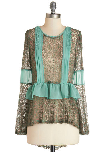Sweet Serenity Top by Ryu - Mid-length, Sheer, Knit, Woven, Green, Mint, Lace, Pleats, Ruffles, Party, Long Sleeve