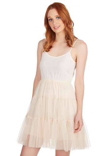 Give Me Gracefulness Full Slip in Ivory - Solid, Tiered, Vintage Inspired, 50s, Darling, Jersey, Sheer, Knit, Tulle, Cream