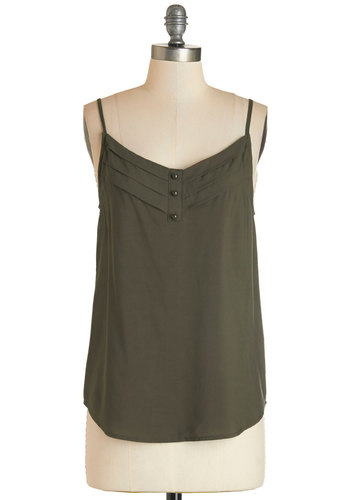 Olive and Let Live Top - Mid-length, Woven, Green, Solid, Buttons, Casual, Spaghetti Straps
