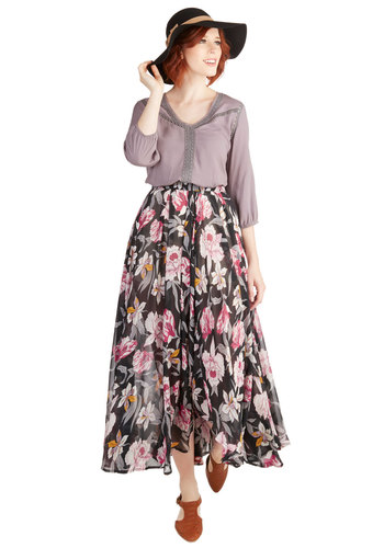 Step Sprightly Skirt - Long, Chiffon, Woven, Floral, Casual, Daytime Party, Beach/Resort, Boho, Maxi, Better, Black, Multi, Pink, Black