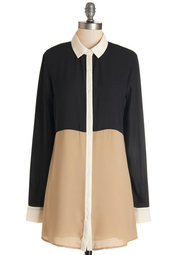 Modern Tradition Top - Long, Sheer, Woven, Tan / Cream, Black, Work, Colorblocking, Long Sleeve