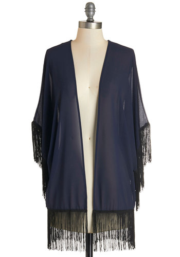 With the Wind Jacket - Good, Blue, Sheer, Woven, 1, Blue, Solid, Fringed, Casual, Beach/Resort, Boho, 70s, Short Sleeves, Black, Long