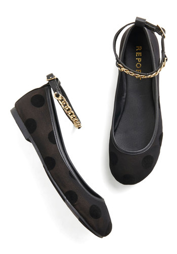 Step Into Simple Flat - Flat, Faux Leather, Black, Polka Dots, Chain, Party, Casual, Statement, Better