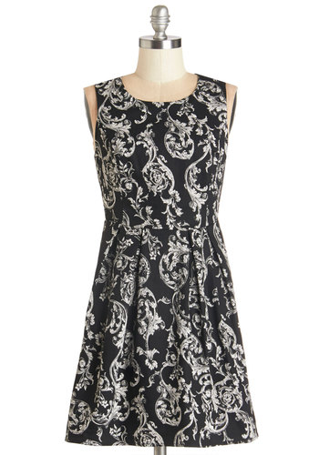 Dance of a Lifetime Dress - White, Floral, Cutout, Exposed zipper, Casual, A-line, Sleeveless, Better, Scoop, Short, Cotton, Knit, Black