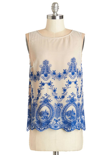 First Day Fabulous Top - Mid-length, Knit, Woven, Cream, Blue, Embroidery, Party, Sleeveless