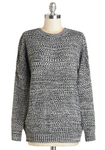 Cozy to See Sweater - Mid-length, Knit, Grey, Solid, Casual, Long Sleeve, Fall, Winter