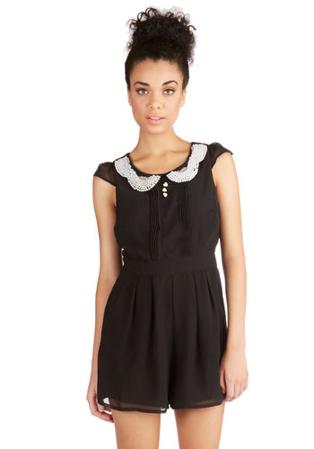 Romance Columnist Romper - Black, Solid, Pearls, Pleats, Pockets, Beads, Buttons, Long, Film Noir, Vintage Inspired, Collared, Black, Romper, Party, Cocktail, Girls Night Out, Short Sleeves, Spring, Summer, Winter, Best, Top Rated
