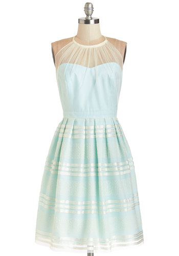 Spellbindingly Superb Dress - Mint, Prom, Wedding, Bridesmaid, Pastel, Tan / Cream, Solid, Lace, Pleats, Special Occasion, A-line, Better, Halter, Long