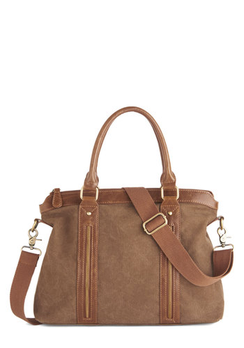 Facts and Figures Bag - Brown, Solid, Buckles, Exposed zipper, Boho, Safari, Travel, Rustic, Work, Fall