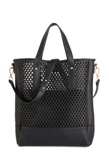 Kit and Kaboodle Bag - Black, Solid, Urban, Faux Leather, Cutout