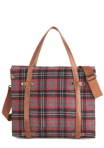 Camp Director Tote in Plaid - Multi, Plaid, Buckles, Menswear Inspired, Urban, Travel, Scholastic/Collegiate, Nifty Nerd, Fall, Winter, Faux Leather, Woven, Rustic