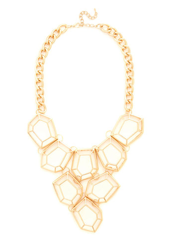 Geometric Glint Necklace - Solid, Tiered, Statement, Urban, Darling, Gold, Gold, Party