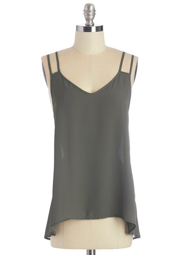 Pebble Beach Beauty Top - Mid-length, Sheer, Woven, Grey, Solid, Casual, Spaghetti Straps, Exclusives