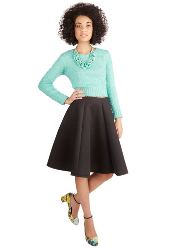 Composed Commute Skirt - Mid-length, Knit, Grey, Solid, Full, Fall, Winter, Grey, Work