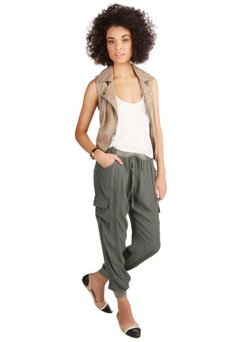 Save the Best for Relax Pants - Woven, Green, Solid, Casual, Military, Tapered Leg, Ankle, Green, Pockets, 80s, 90s, Urban, Fall, Good, High Rise, Non-Denim