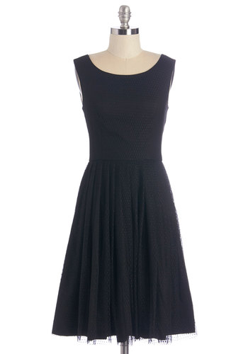Date Night in Paris Dress - Black, Solid, Pleats, Party, LBD, A-line, Sleeveless, Better, Scoop, Long, Tulle, Cocktail