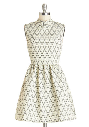 As of Tessellate Dress - Black, Print, Casual, A-line, Sleeveless, Fall, Woven, Better, Mid-length, Cream