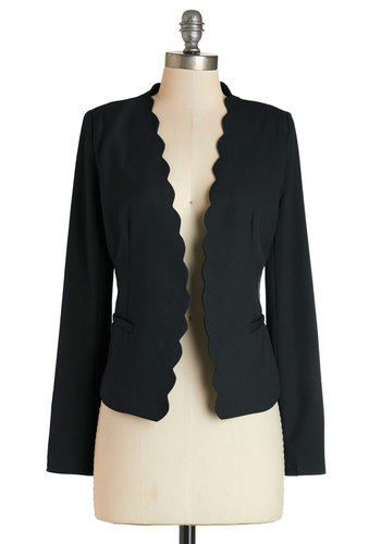 Detour du Jour Blazer in Black - Short, Woven, 1, Black, Solid, Work, Black, Pockets, Scallops, Variation, Holiday Party