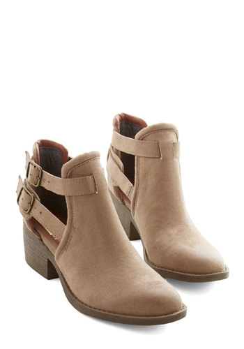 Trip to Remember Bootie by BC Footwear - Mid, Faux Leather, Tan, Solid, Buckles, Cutout, Better