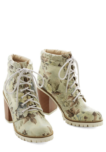 Floral Function Boot by Dolce Vita - Cream, Multi, Floral, Urban, Better, Lace Up, Mid, Faux Leather
