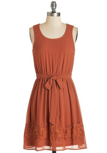 Practice Your Calligraphy Dress - Orange, Solid, Trim, Belted, Casual, A-line, Sleeveless, Fall, Woven, Good, Scoop, Mid-length