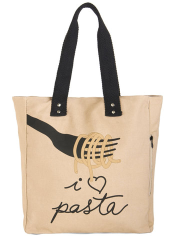 Linguine Lover Tote - Tan, Multi, Novelty Print, Travel, Sayings, Festival, Woven, Casual, Food