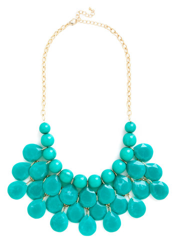 At the Last Minute Necklace in Teal - Blue, Solid, Beads, Cocktail, Boho, Safari, Statement, Urban, Darling, Gold, Variation, Gals, Holiday Party