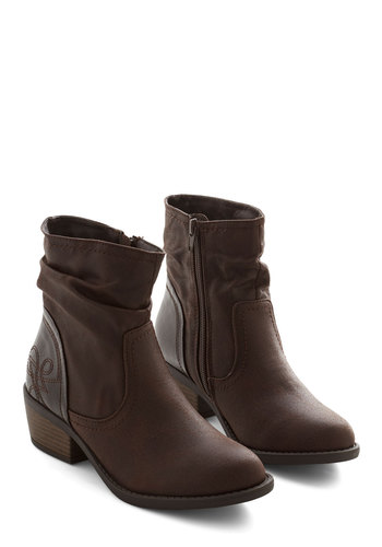 Thank You Ferry Much Boot - Mid, Faux Leather, Brown, Solid, Ruching, Good