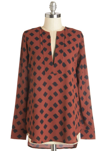 Mesquite On Keepin' On Top - Long, Woven, Red, Black, Print, Casual, Safari, Long Sleeve