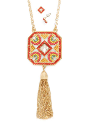 Next Stop, Paradise Earrings and Necklace Set - Orange, Solid, Tassels, Boho, Festival, Gold, Beads