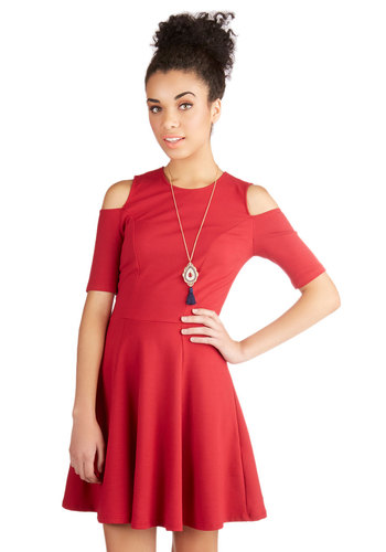 Stun of a Kind Dress - Red, Solid, Party, A-line, Short Sleeves, Better, Scoop, Mid-length, Knit, Cutout