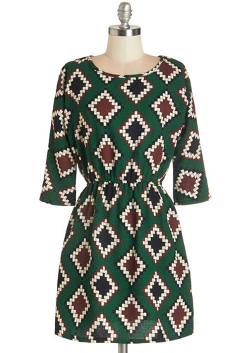 Daring Decorator Dress - Short, Woven, Green, Print, Work, Casual, A-line, 3/4 Sleeve, Fall, Brown