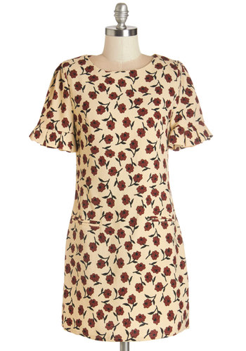 I Think I Canvas Dress - Short, Woven, Tan, Red, Floral, Shift, Short Sleeves, Fall