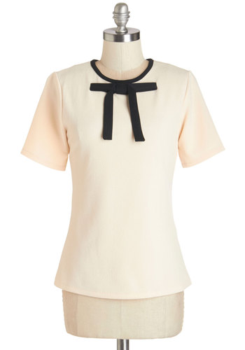 Lovely in the Library Top - Mid-length, Knit, Cream, Black, Bows, Trim, Work, Darling, Short Sleeves